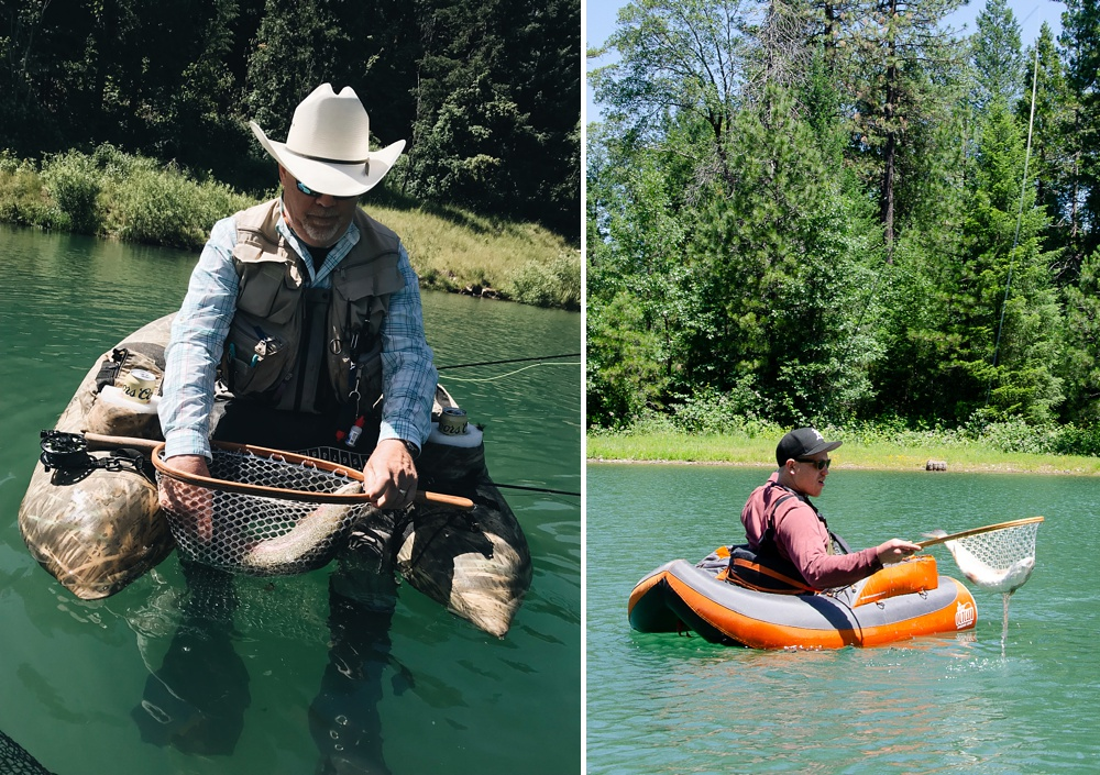 Fish in the net at Henderson Springs Ranch in northern California. Fly fishing destination travel photography by Andy Carrasco and Max Salzburg of SC Films and Sonja K Photography.