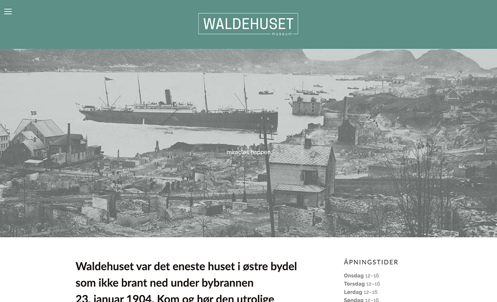 Ny nettside -  www.waldehuset.com    Design - Foto - Flerspråklig - Sosiale Medier - Logo   Kunde: Foreningen Waldehuset