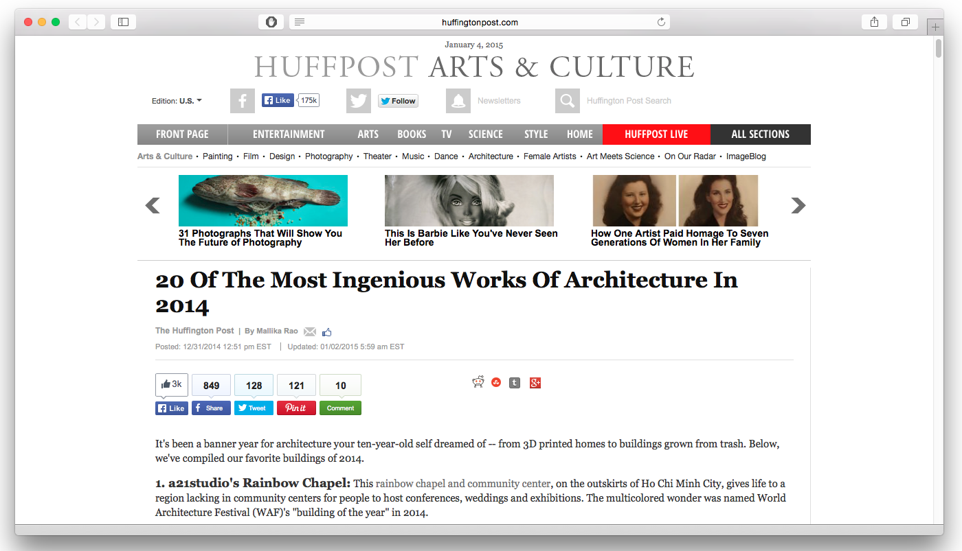DO architects_News_Huffington Post ranks Rolling Homes Top 20 in 2014_01.png