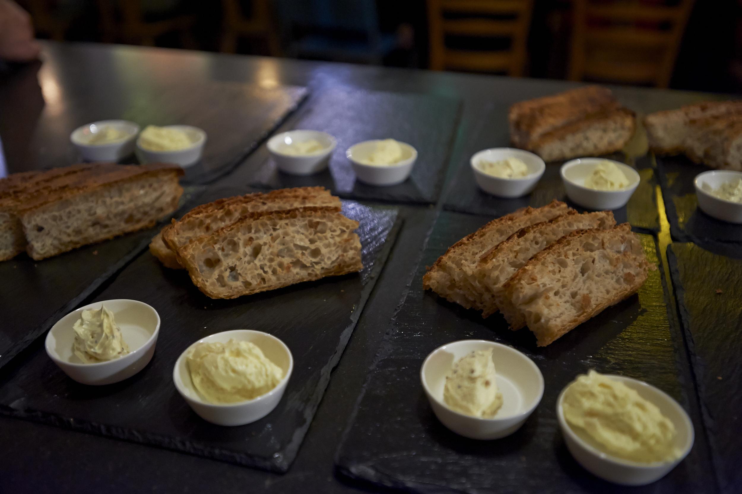 Sourdough bread with local Mühlerama flour, homemade bone marrow and mustard butter