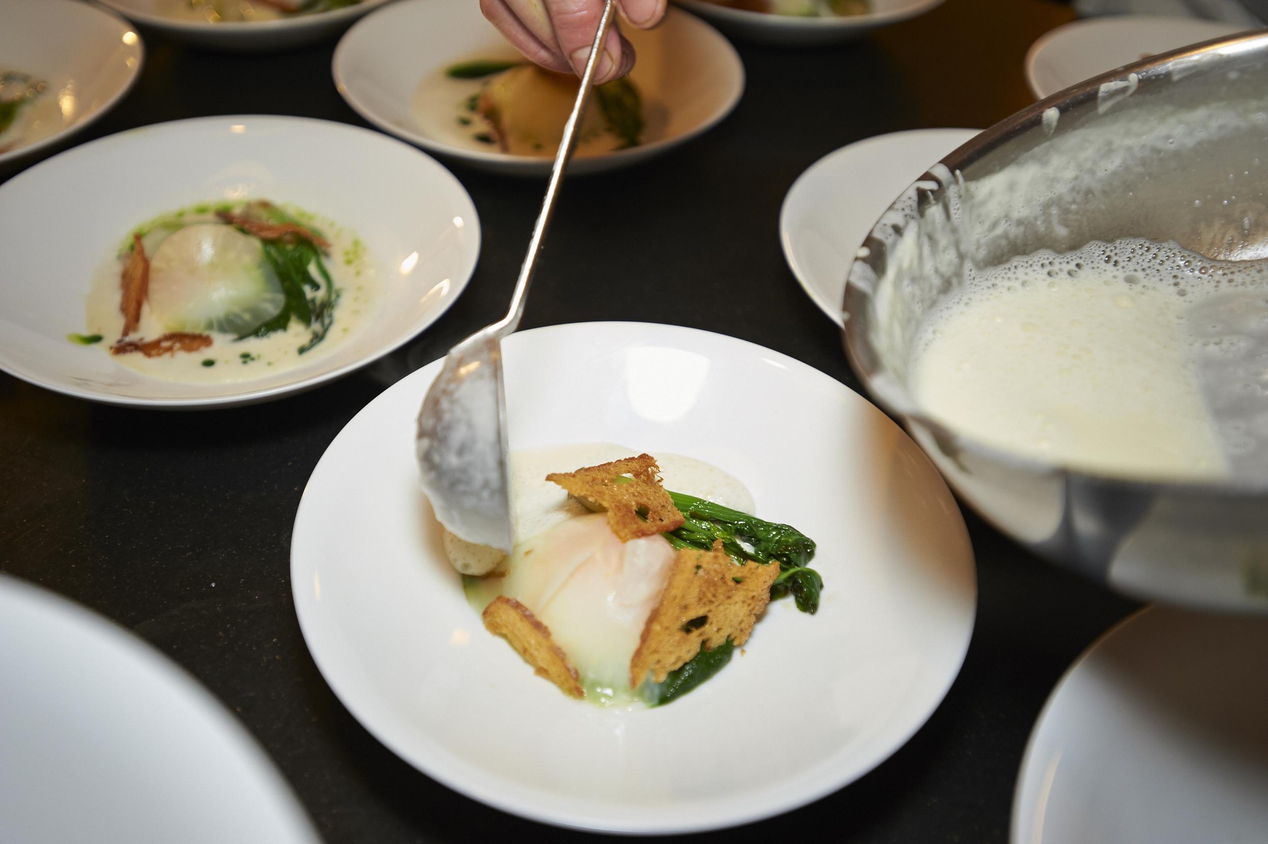 Egg, Celeriac, Spinach, Gruyere