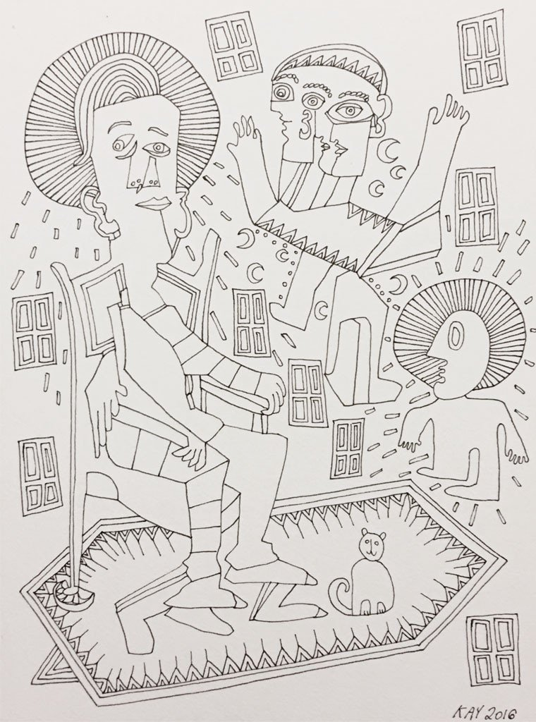INK DRAWING 7 - WILL KAY$350This drawing is from my series of ink on paper. Common themes are figures, animals, plants, music, asymmetry and rhythm.description: black ink on paper, 6