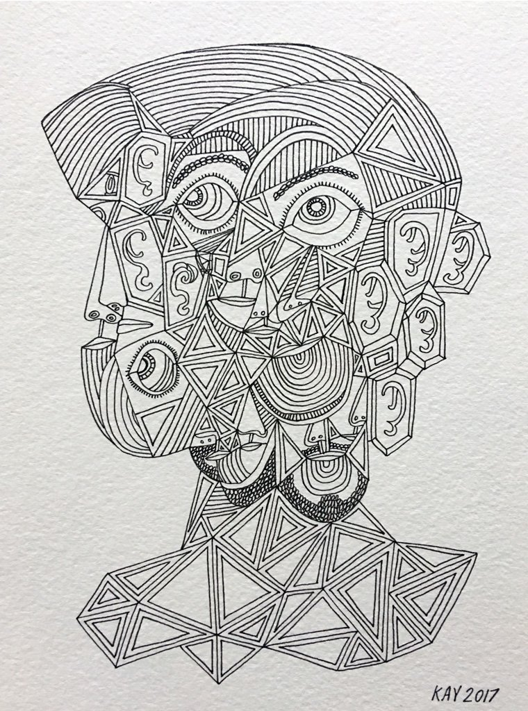 INK DRAWING 29 - WILL KAY$350This drawing is from my focus on heads and faces. Scale is important, even abstractly.description: 6