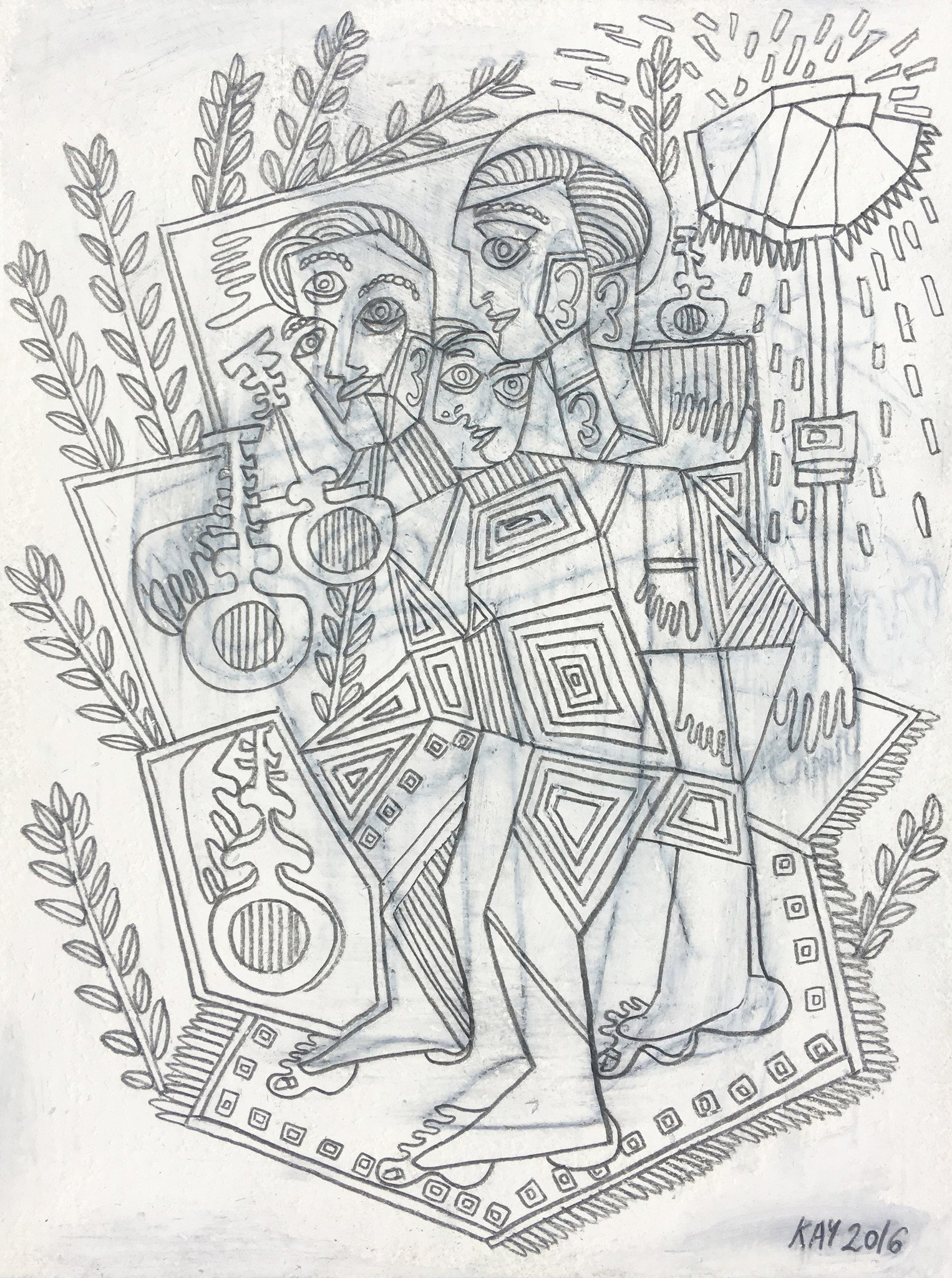 OIL DRAWING 29 - WILL KAY$350This drawing is from my series of oil and pencil on paper. Common themes mused upon are figures, animals, plants, music, asymmetry and rhythm.description: oil and pencil on paper, 6