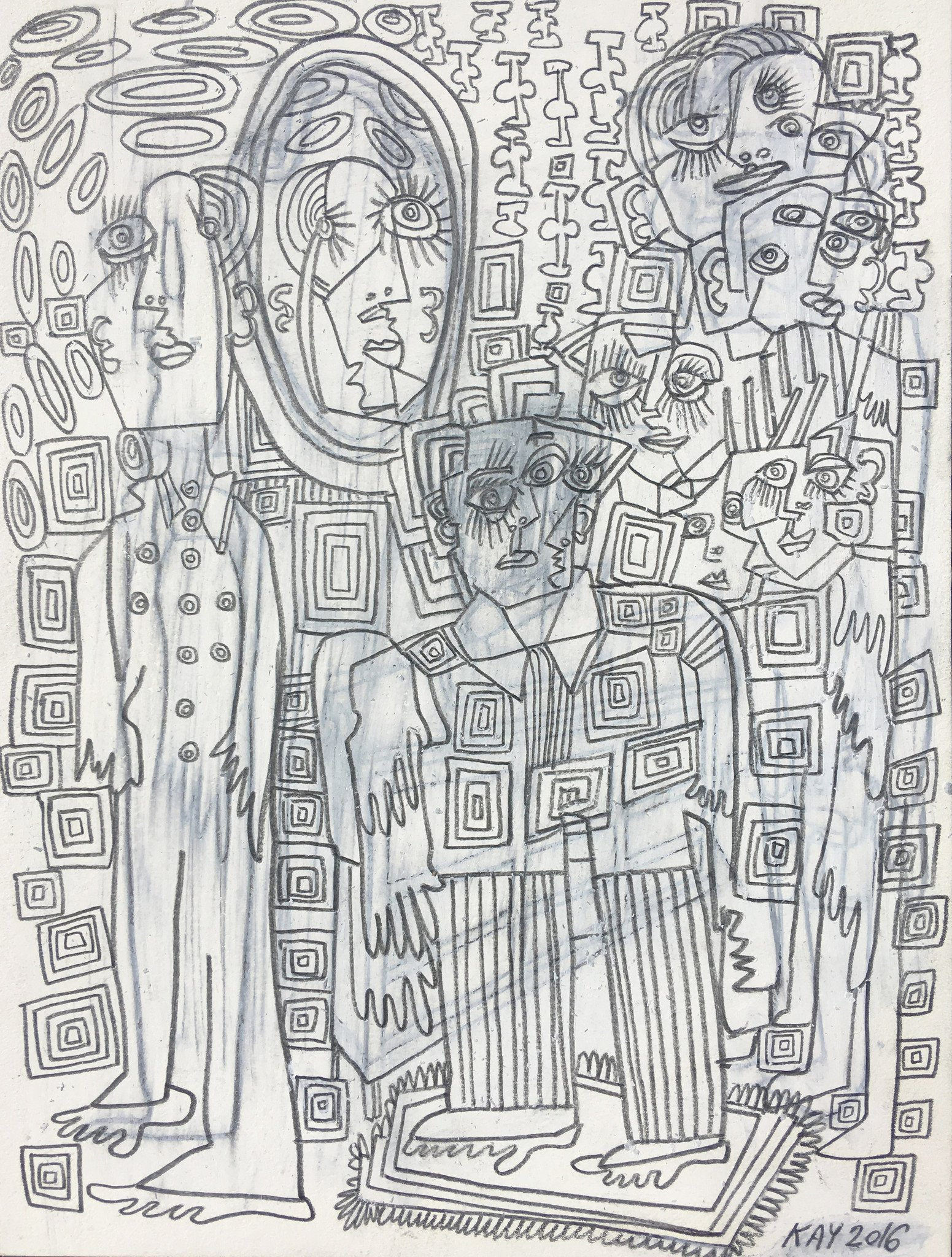 OIL DRAWING 35 - WILL KAY$350This drawing is from my series of oil and pencil on paper. Common themes mused upon are figures, animals, plants, music, asymmetry and rhythm.description: oil and pencil on paper, 6