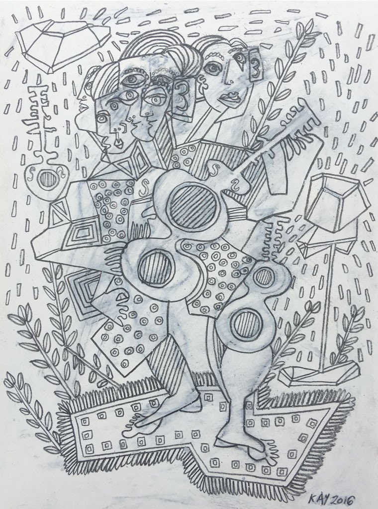 OIL DRAWING 45 - WILL KAY$350This drawing is from my series of oil and pencil on paper. Common themes mused upon are figures, animals, plants, music, asymmetry and rhythm.description: oil, lead, on paper, 6