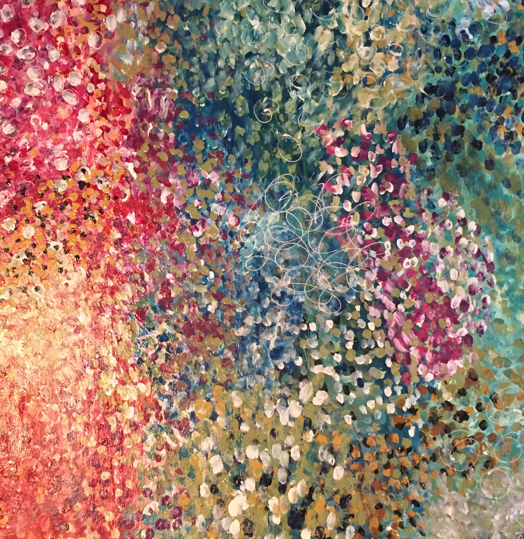 "Flower Splash  36"" x 36"" x 1.5"" acrylic on canvas $1,100 Available"