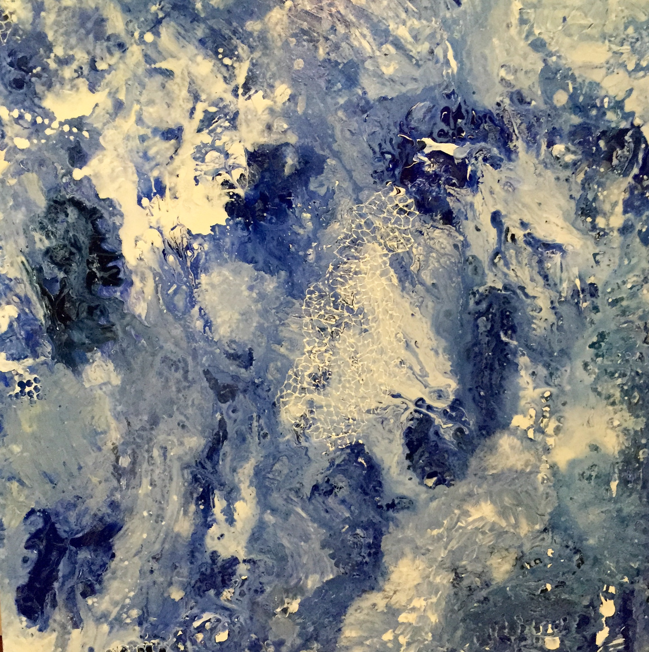 "Deep Blue Crescendo  36"" x x36"" x 1.5"" $1,100 Available"