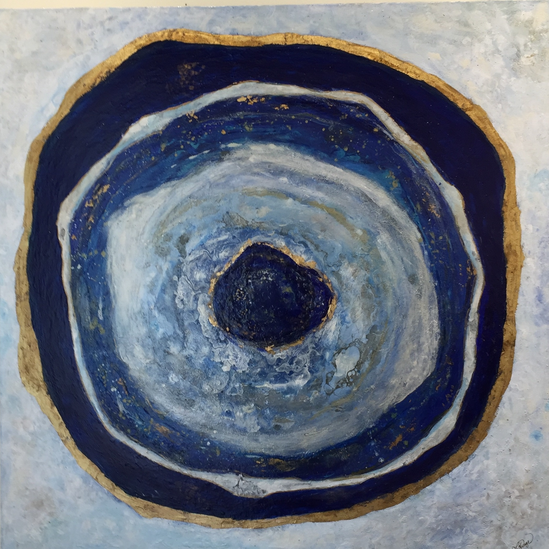 "Agate Slice  36 "" x 36"" x 1.5"" acrylic on canvas $1,100 Available"