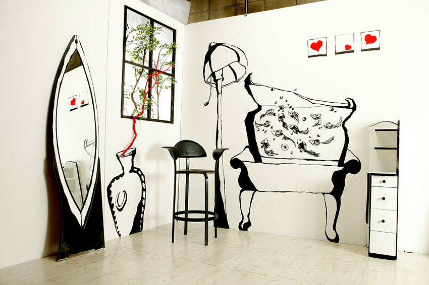 "Acrylic paint on abandoned furniture, Branch, Chair, 160""x80"" (2004)"