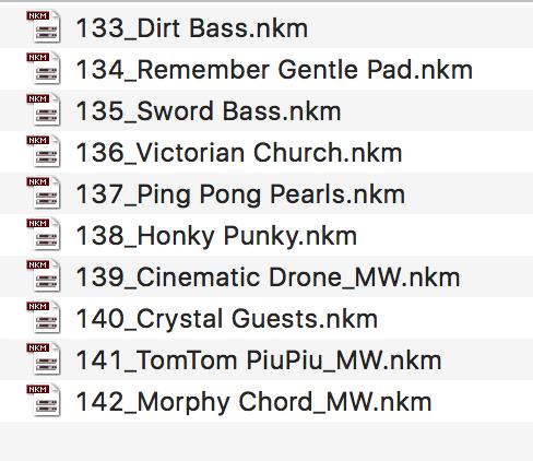 The new presets: bass, pads, FX, keys, drums, plucks...