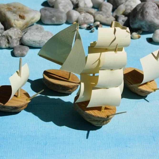 Nut Boat Navy on Etsy - Tiny model boats made from real walnuts! We have all kinds of boats and can do custom ordered and painted boats. We also have pirate-themed vessels. Yarrr!