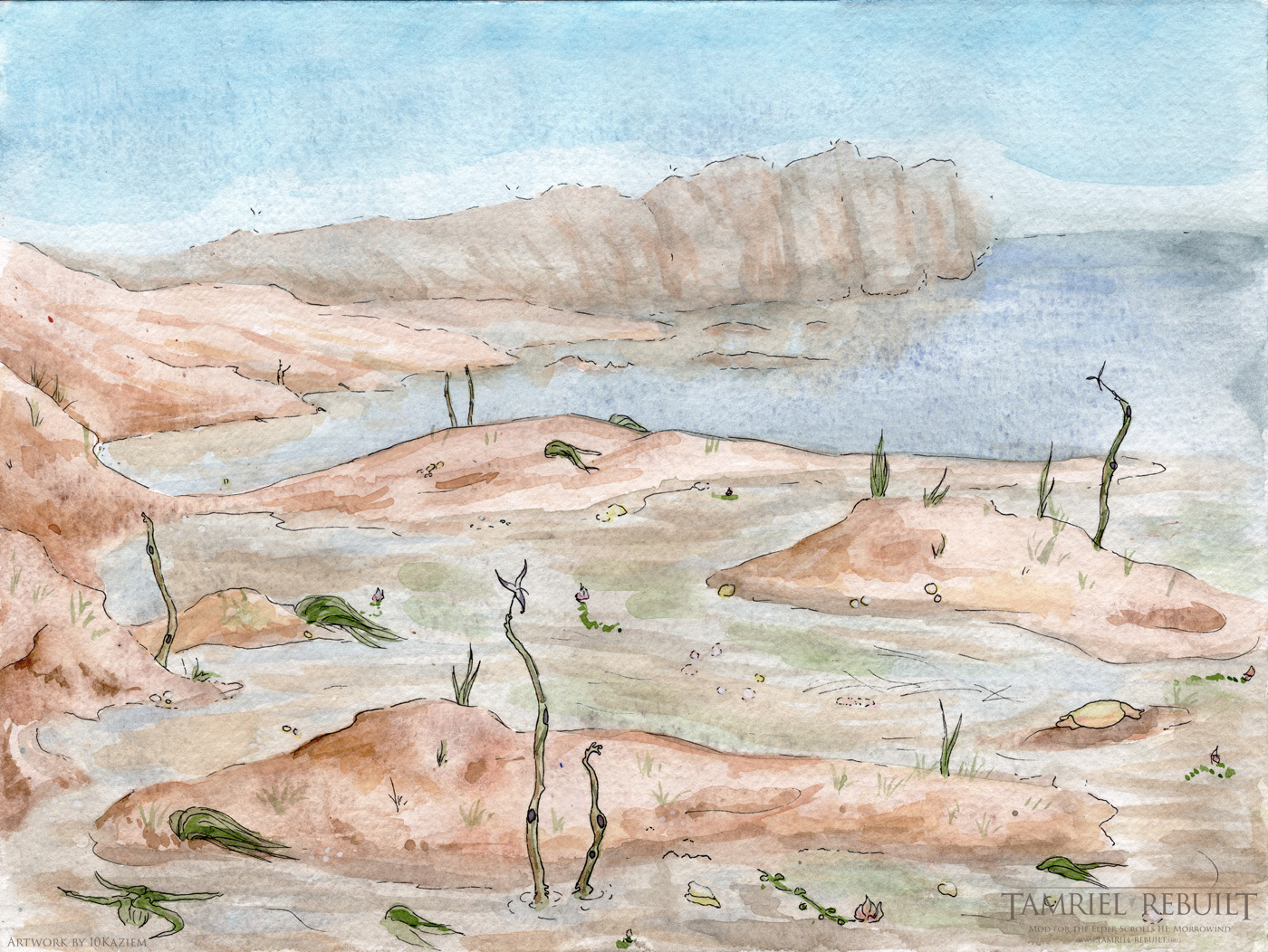 View of the eastern coastal mudflats, with blooming spindlewort. View faces north towards the forested cliffs of more temperate areas. At low-ish tide. Watercolor, micron pen, and gouache on watercolor block, 2016.