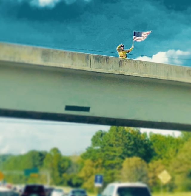 On an overpass driving home. #honor911 #neverforget #911 #neverforget911