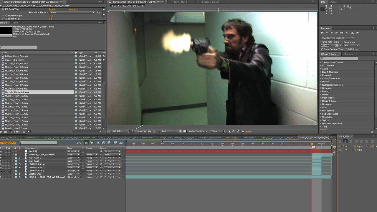 Screen grab from Ken's After Effects timeline of Leon Bearman