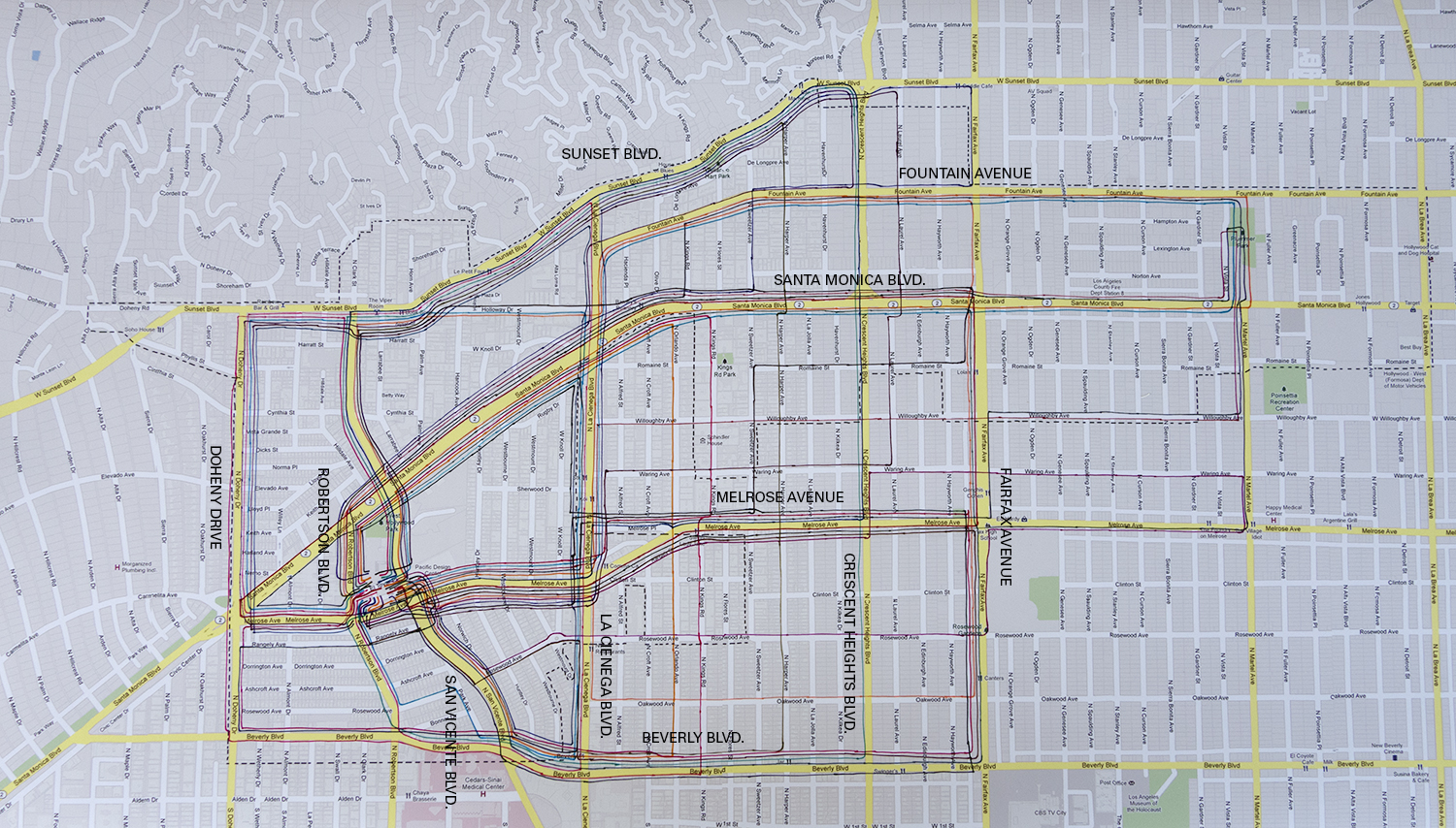 Map showing routes for 100 Walkers, West Hollywood. (Click to enlarge.)