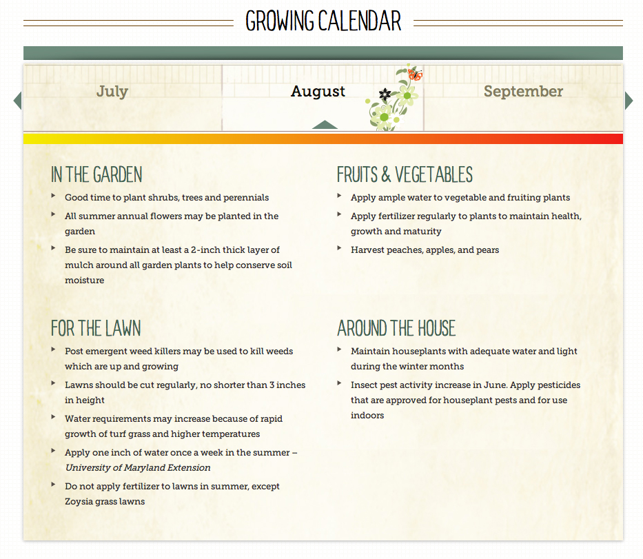 Interactive Growing Calendar