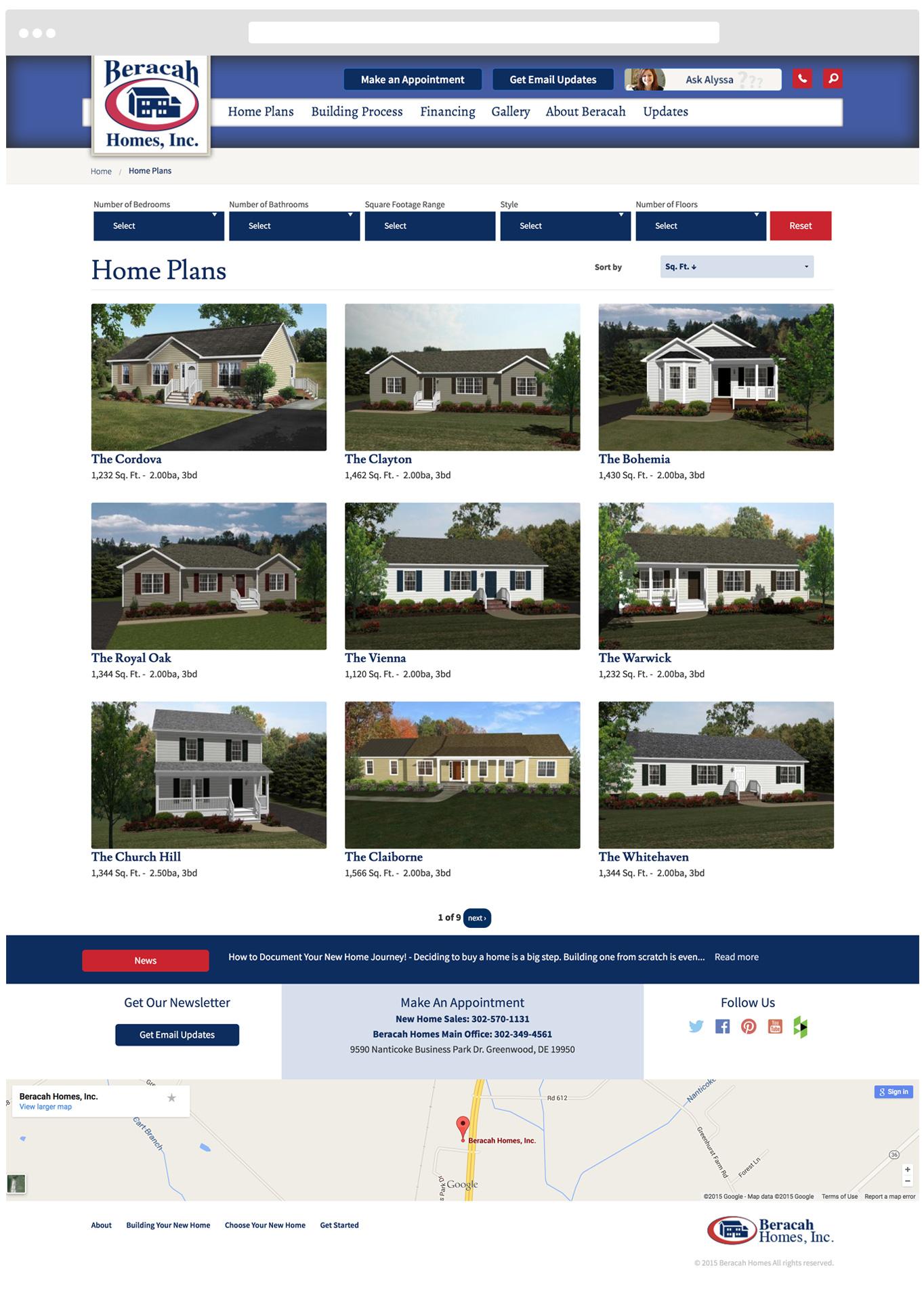 Desktop Home Plan Search Feature