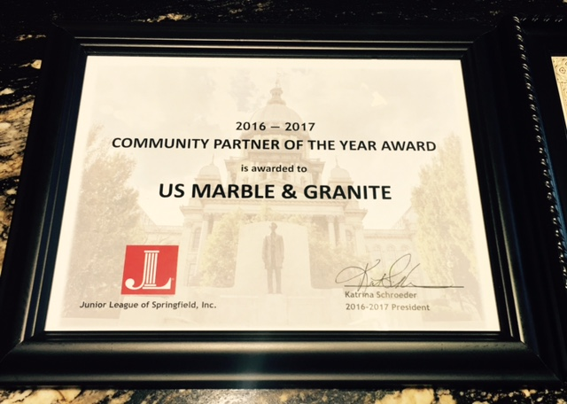 2012-2017 US Marble & Granite named Community Partner of the Year.  Junior League of Springfield, IL
