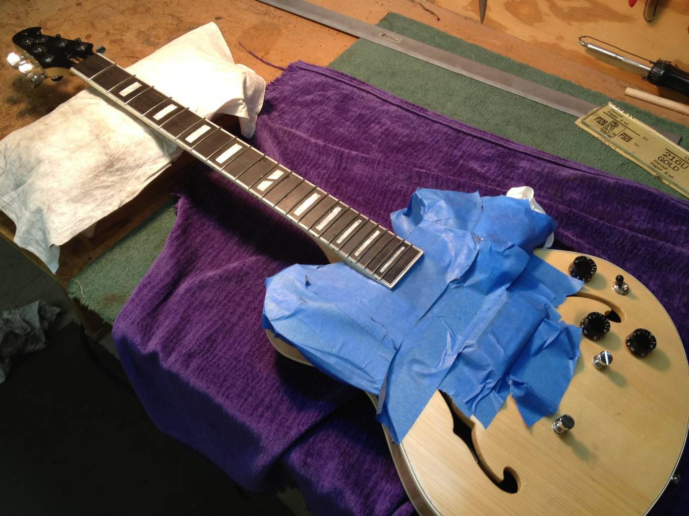 New frets in and ready to be dressed.