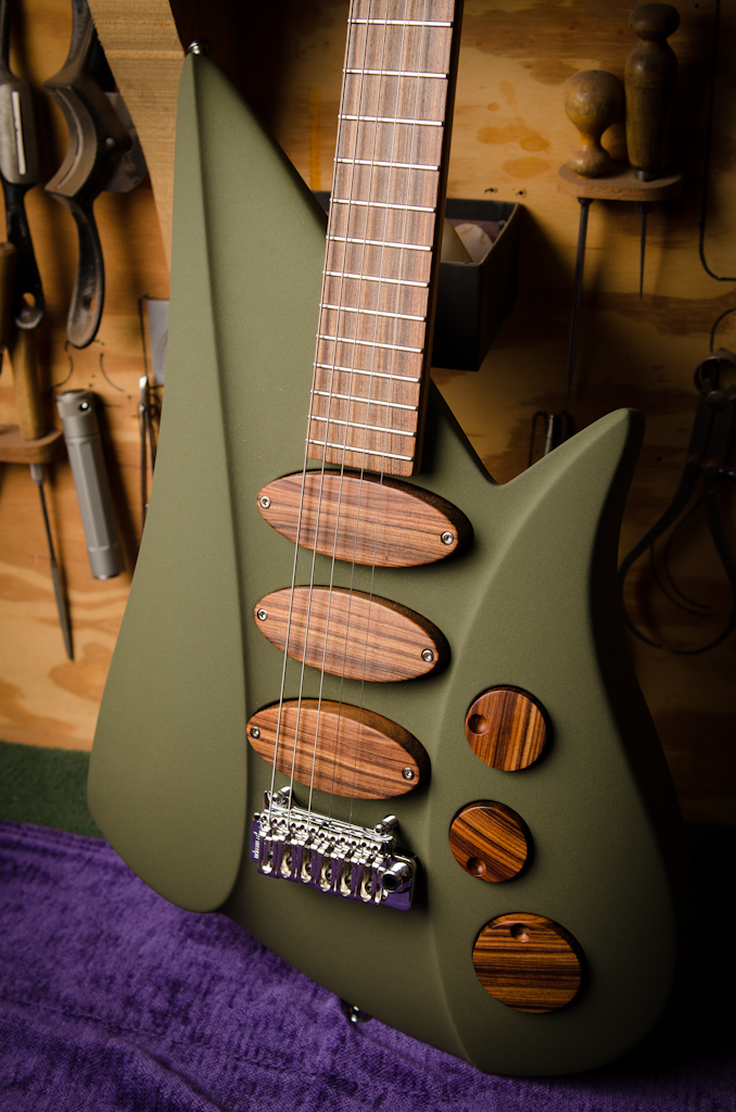 Custom pickups, pickup covers and control knobs.