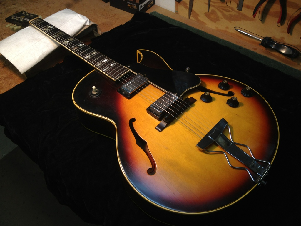 1967 Gibson ES 175-D in for new frets.