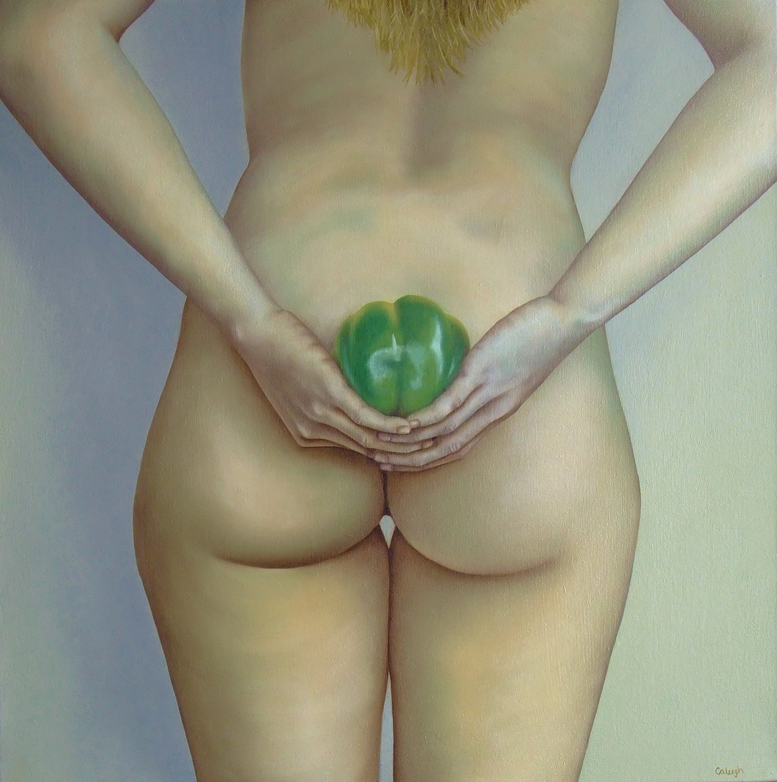Green Pepper   oil on canvas  24 x 24 inches  2015