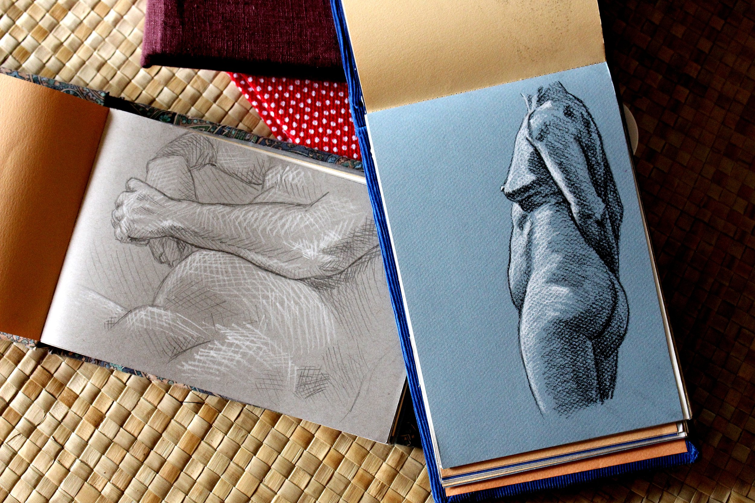 My first set of homemade sketchbooks are all filled up from my weekly figure drawing sessions