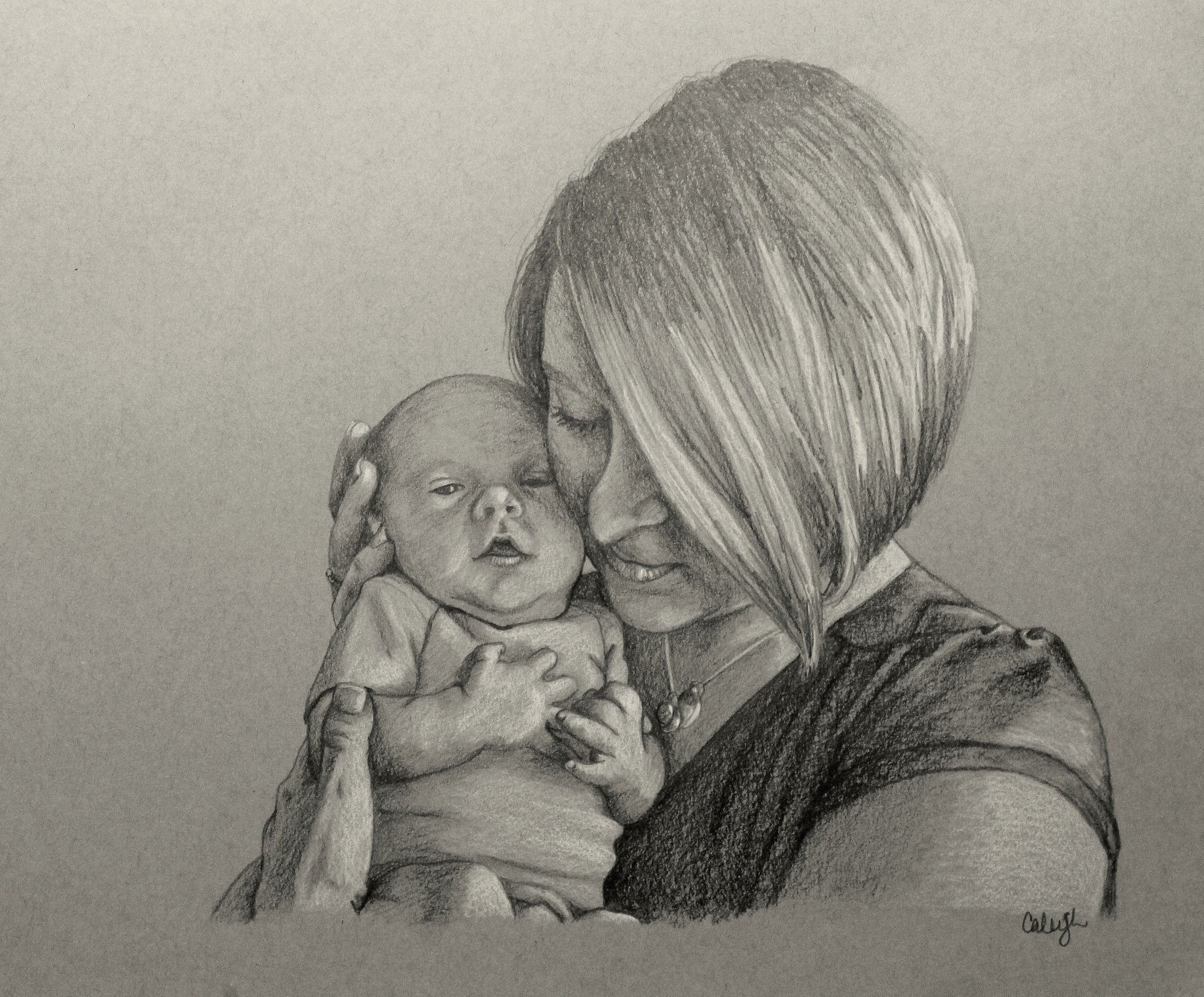 child portrait drawing of a mother and child