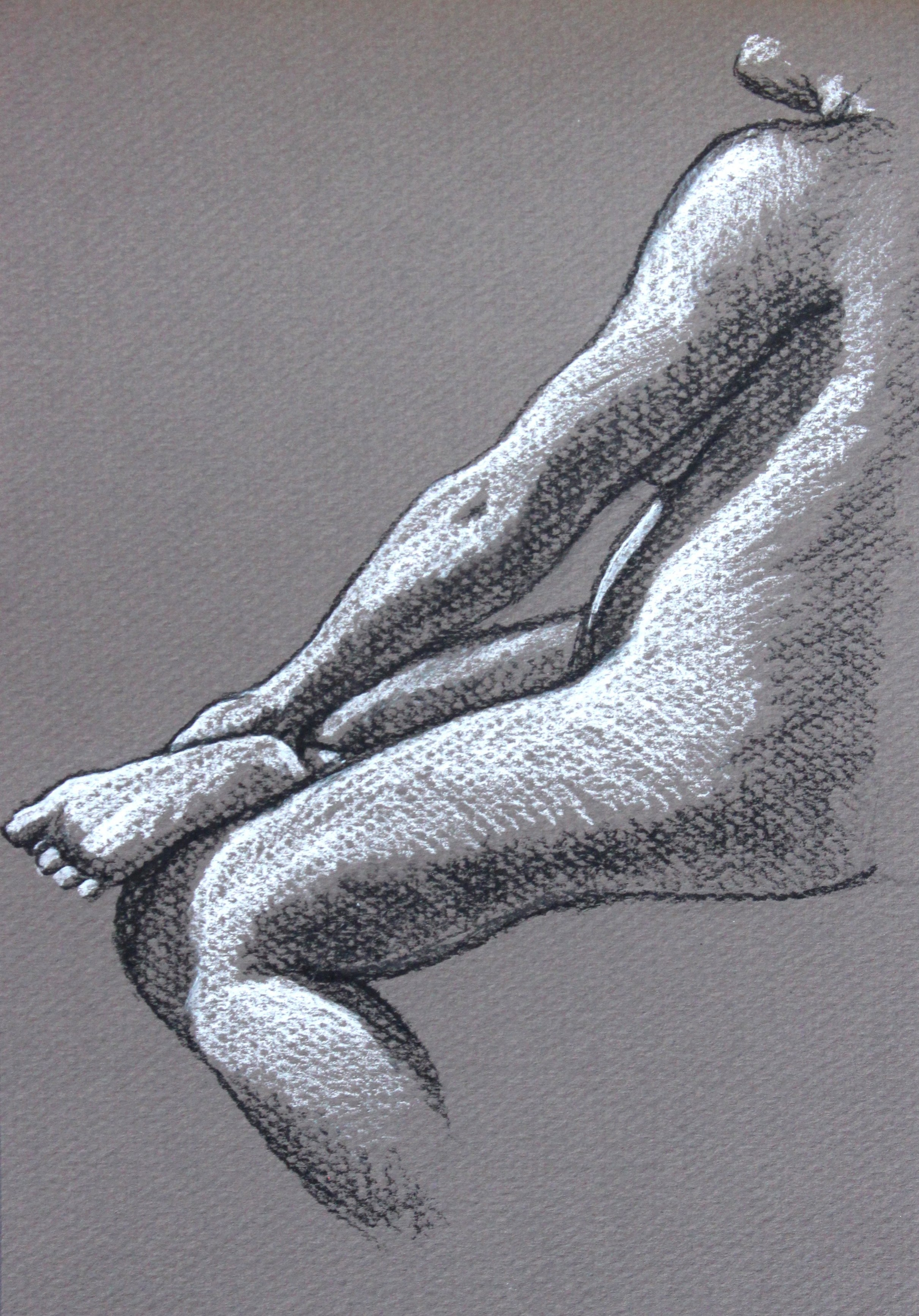charcoal drawing of a seated nude woman
