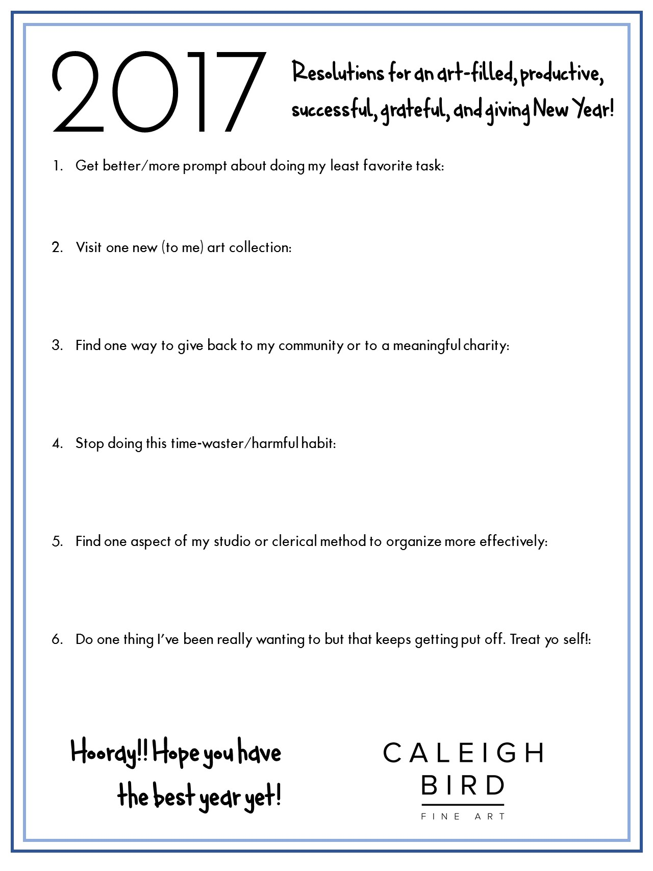 new years resolutions for artists worksheet