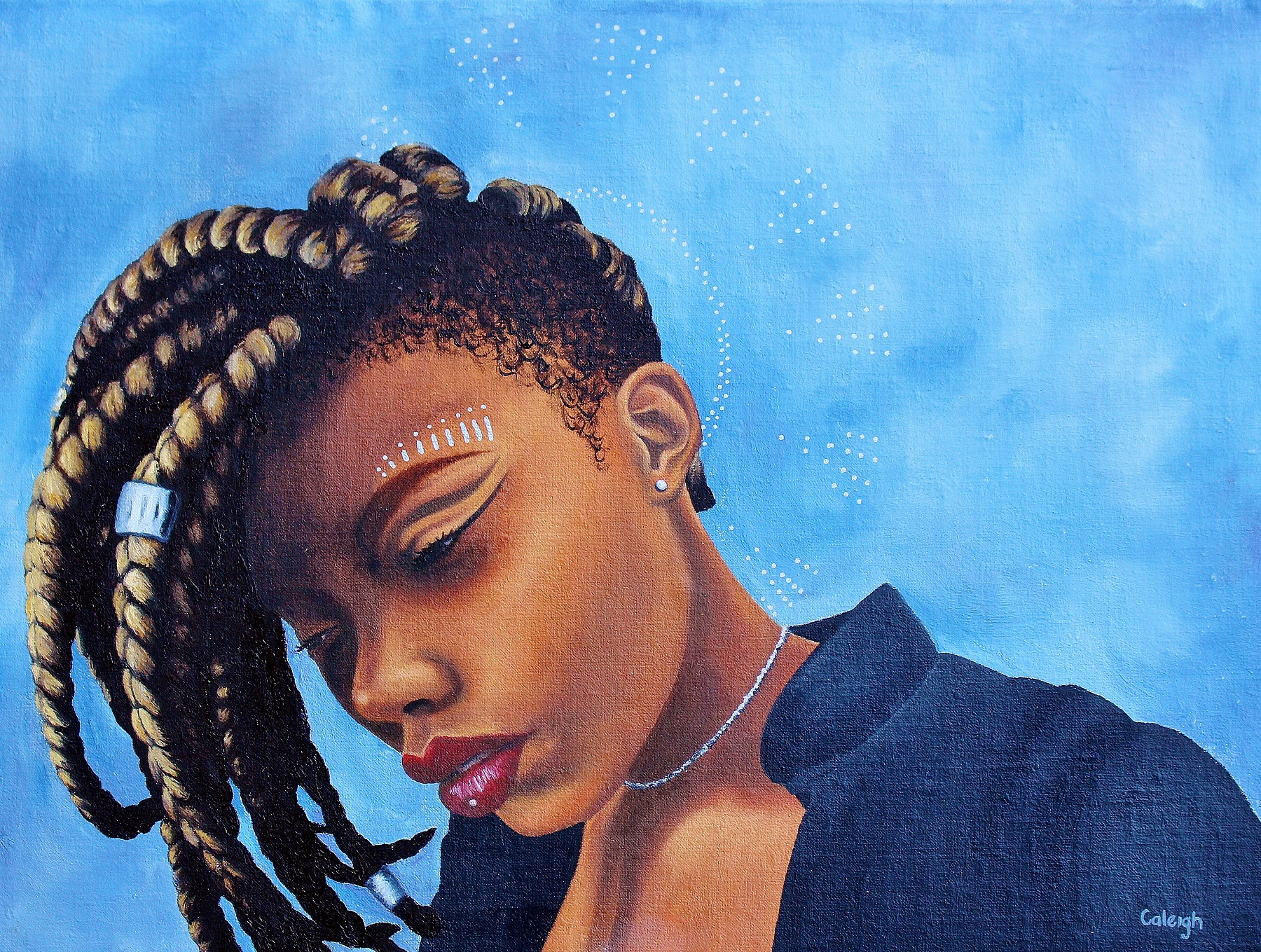 oil painting portrait of a beautiful black goddess