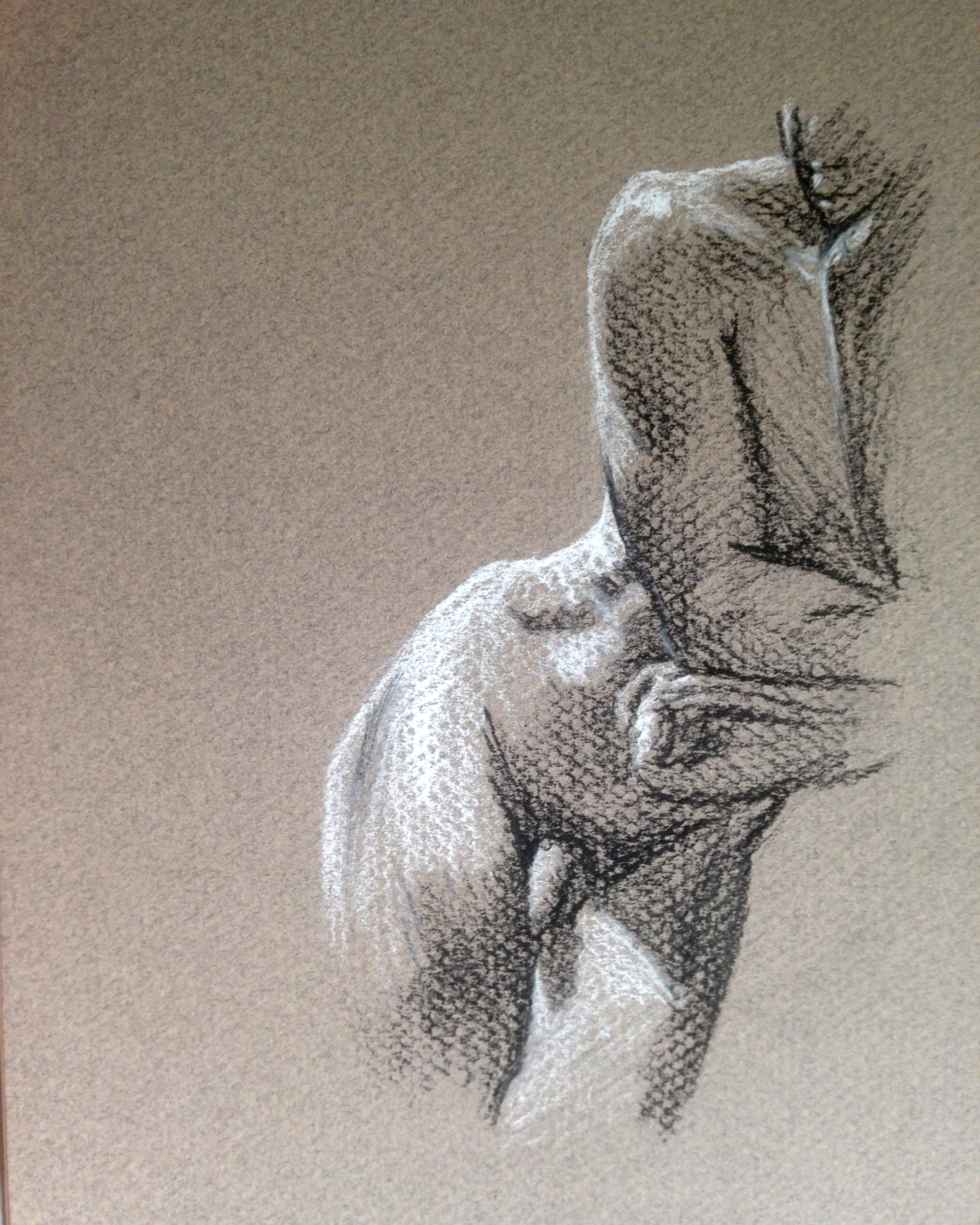 nude male figure drawing in charcoal