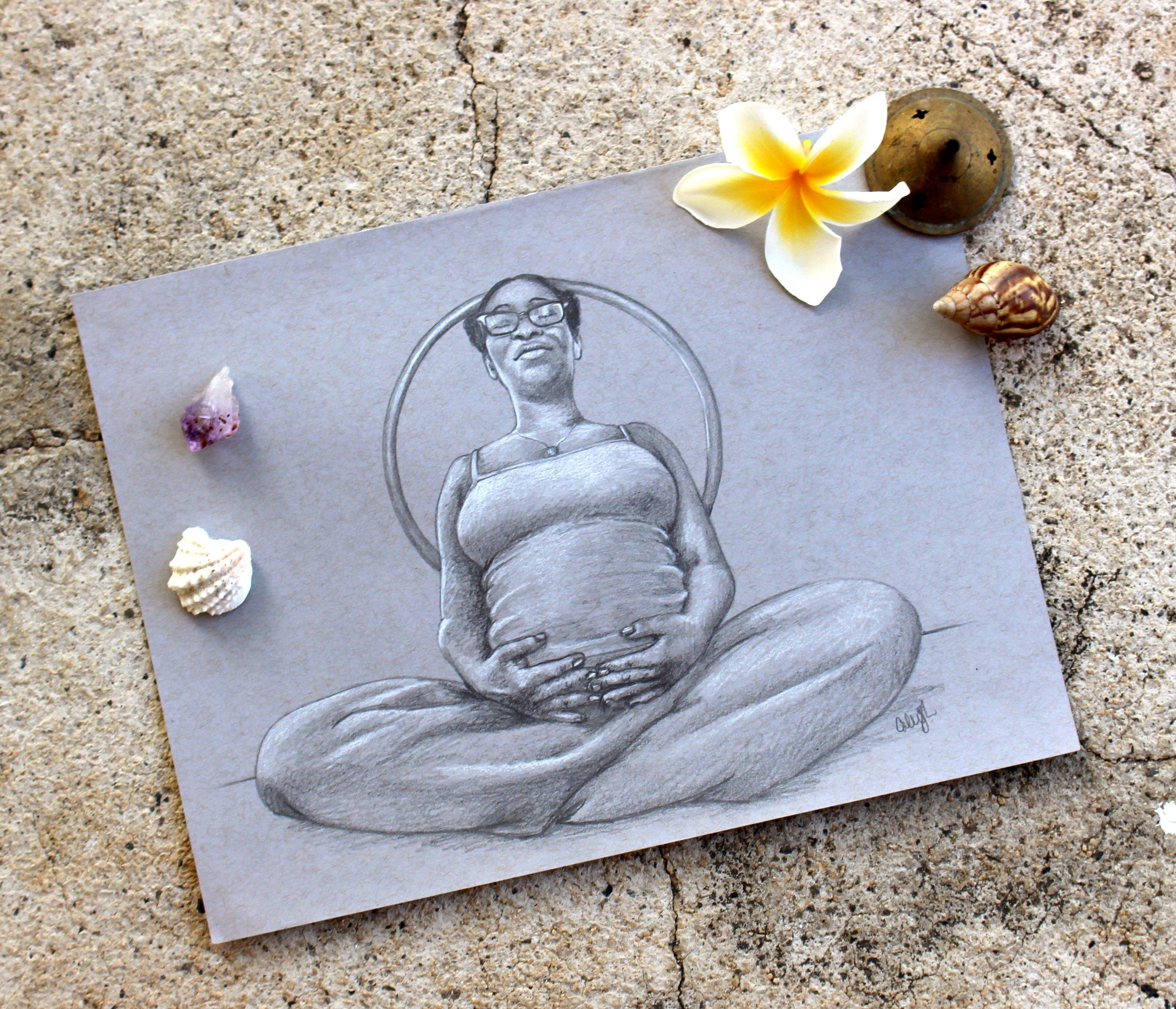 pregnancy portrait drawing in pencil