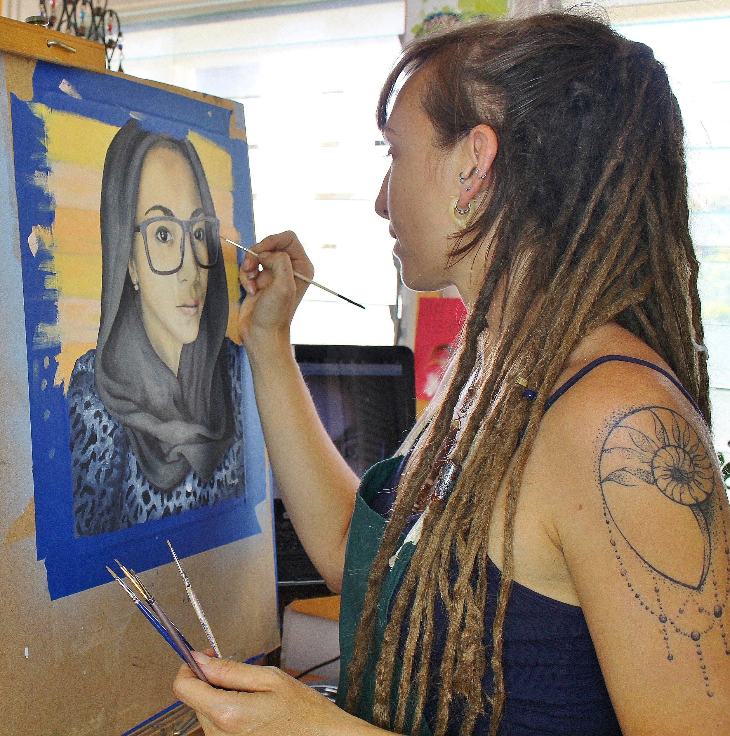 artist painting a portrait