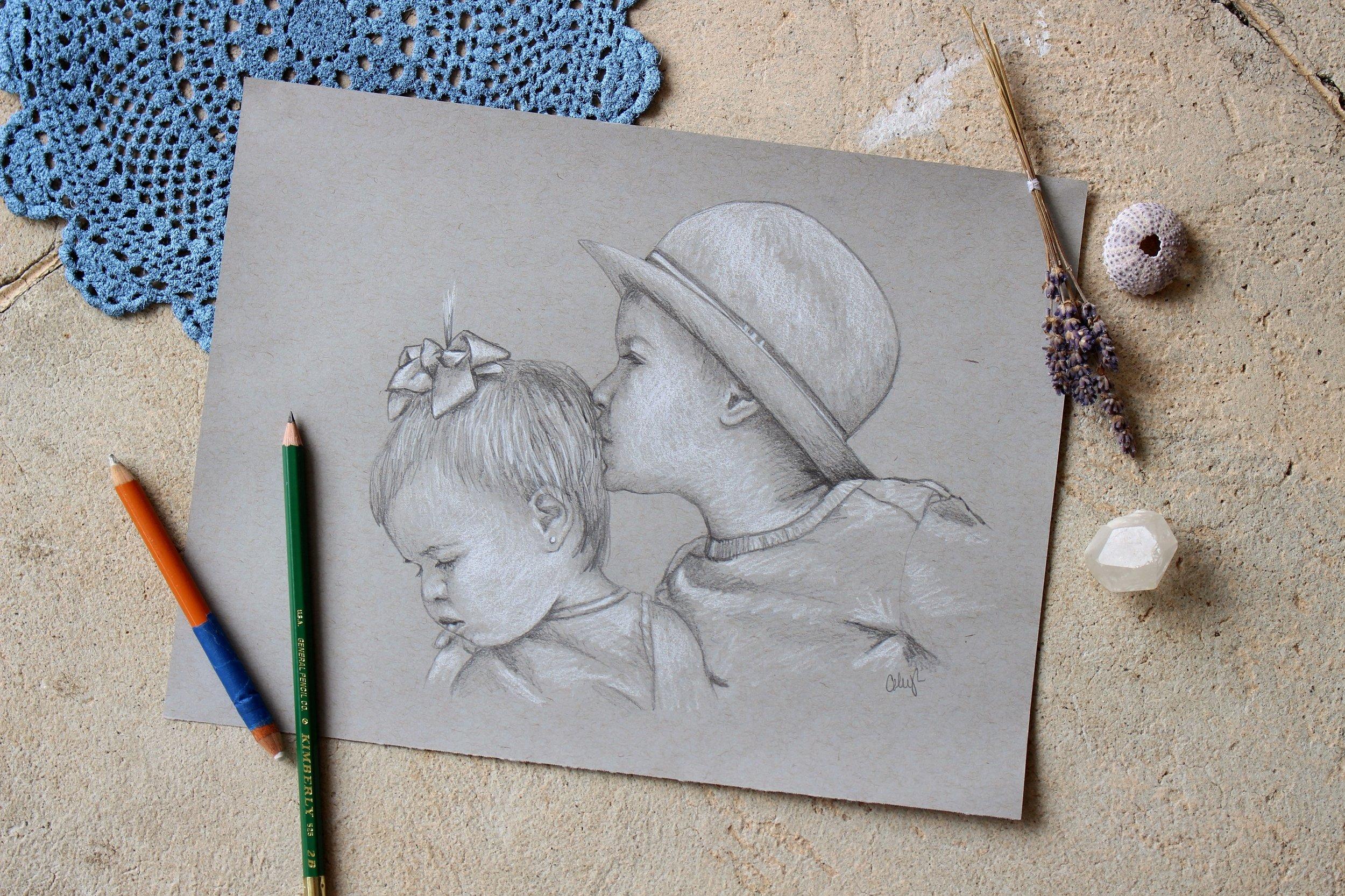 childrens pencil portrait