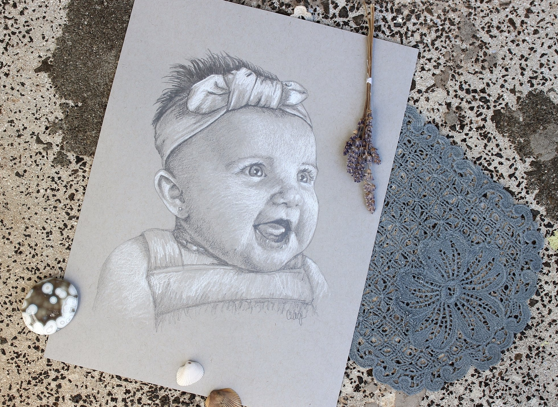 custom portrait drawing of a baby