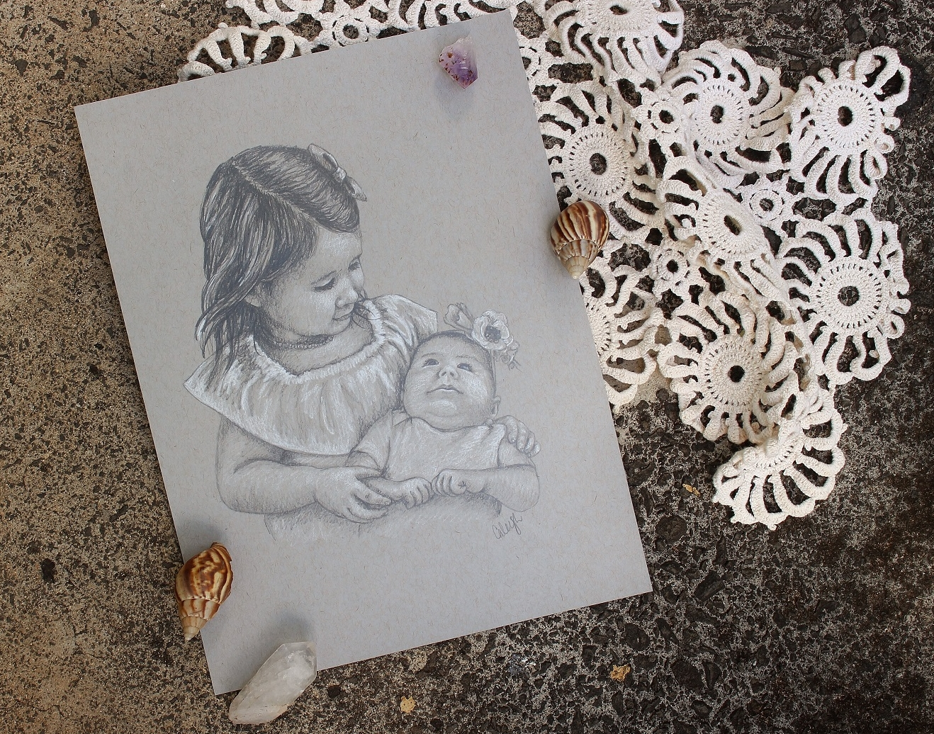 custom portrait drawing of two little girls