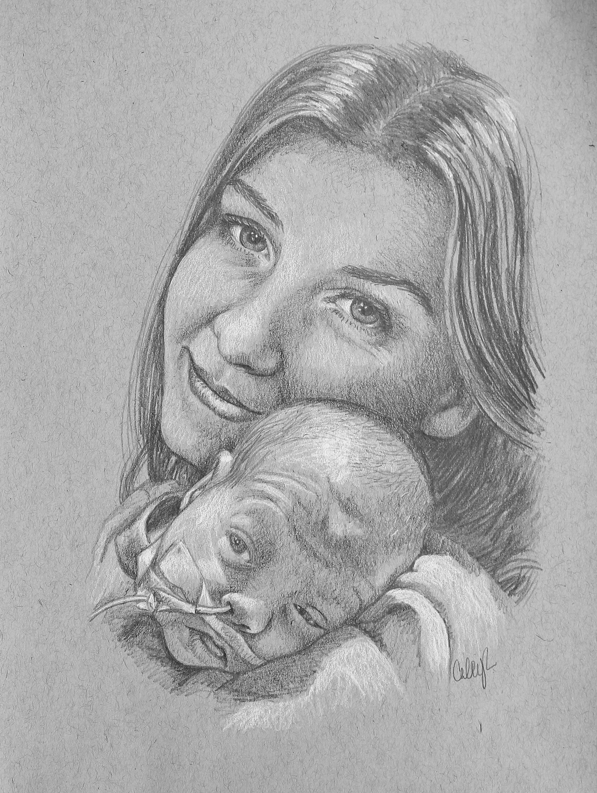 portrait drawing of preemie infant and mom