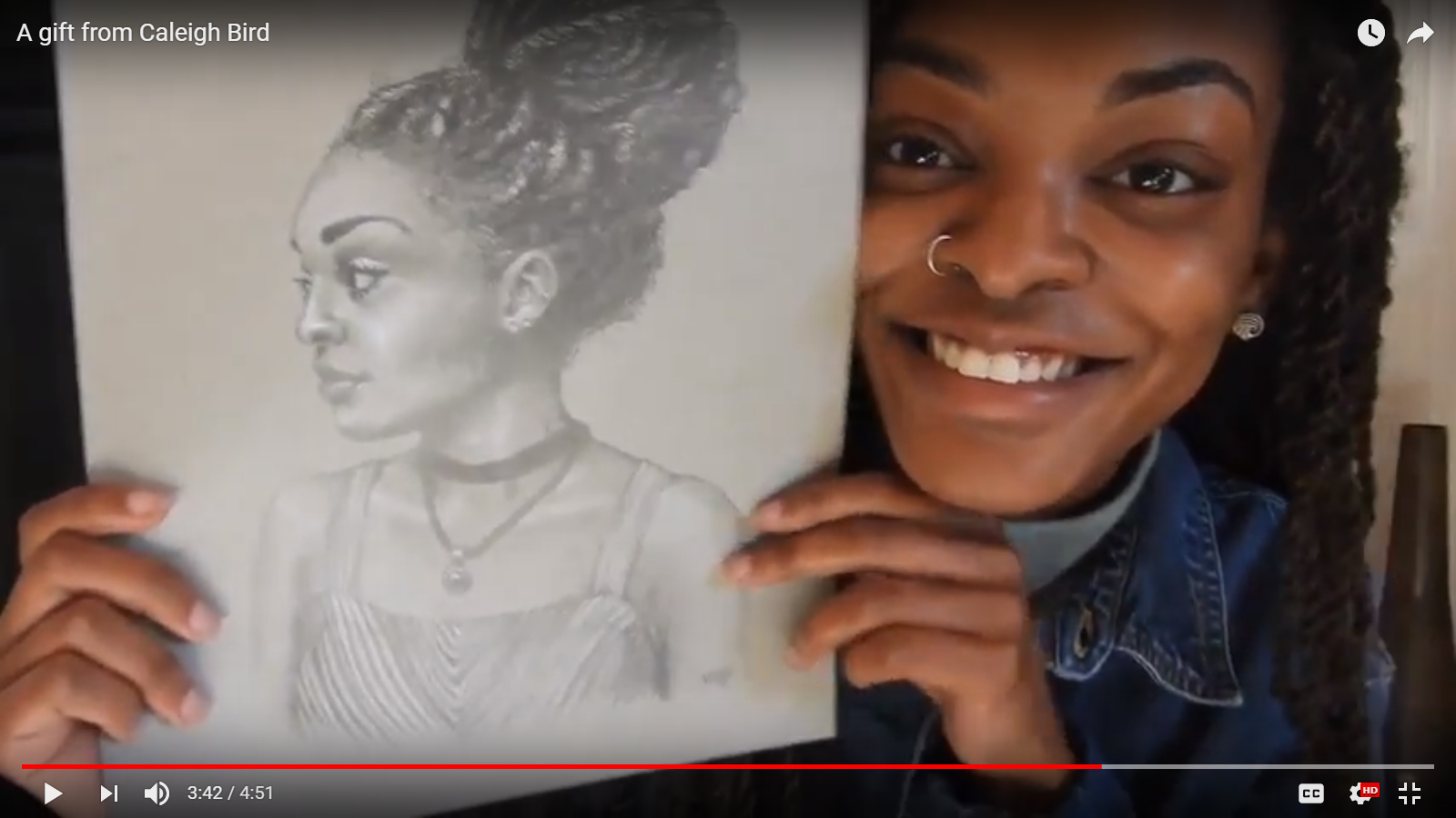 portrait drawing in pencil featured on youtube