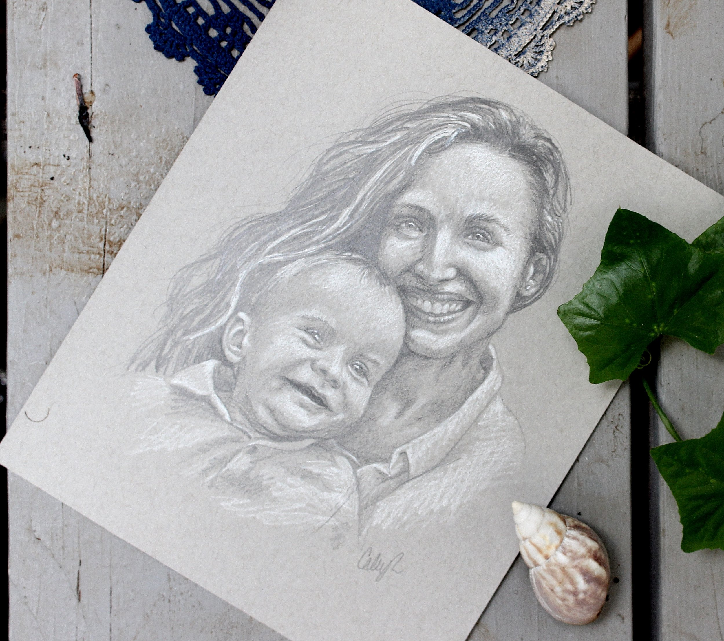 mom and child portrait drawing