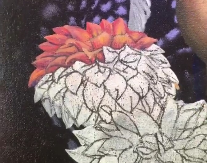 oil painting of a dahlia