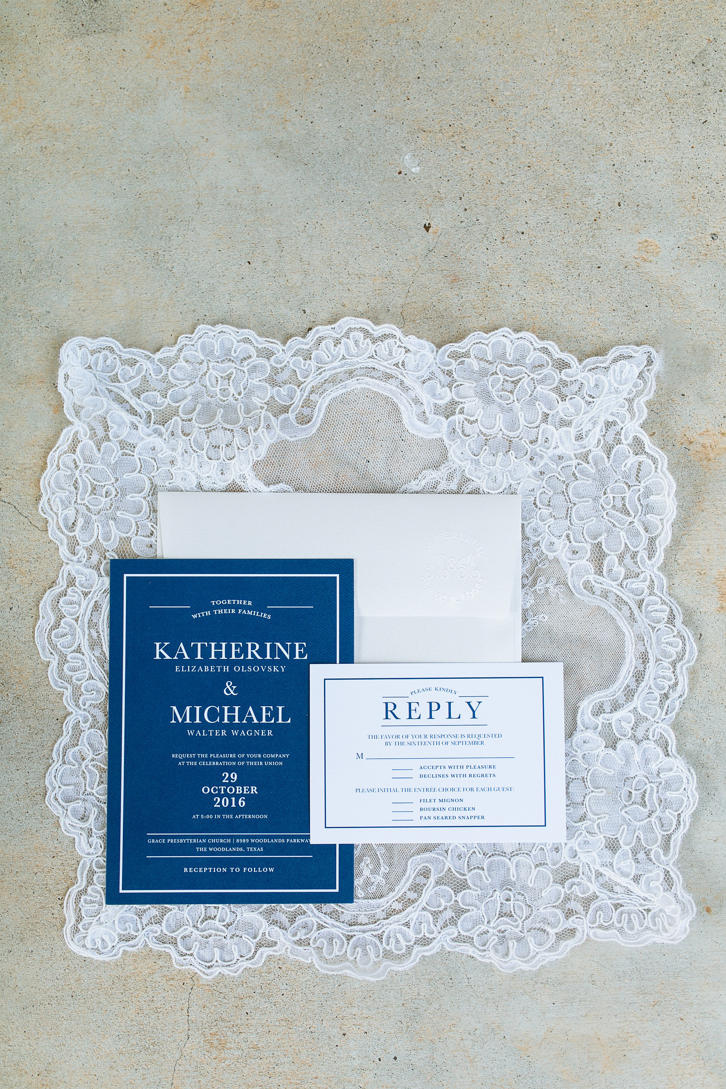 Woodlands Wedding: Blue and White Modern Invitation Suite