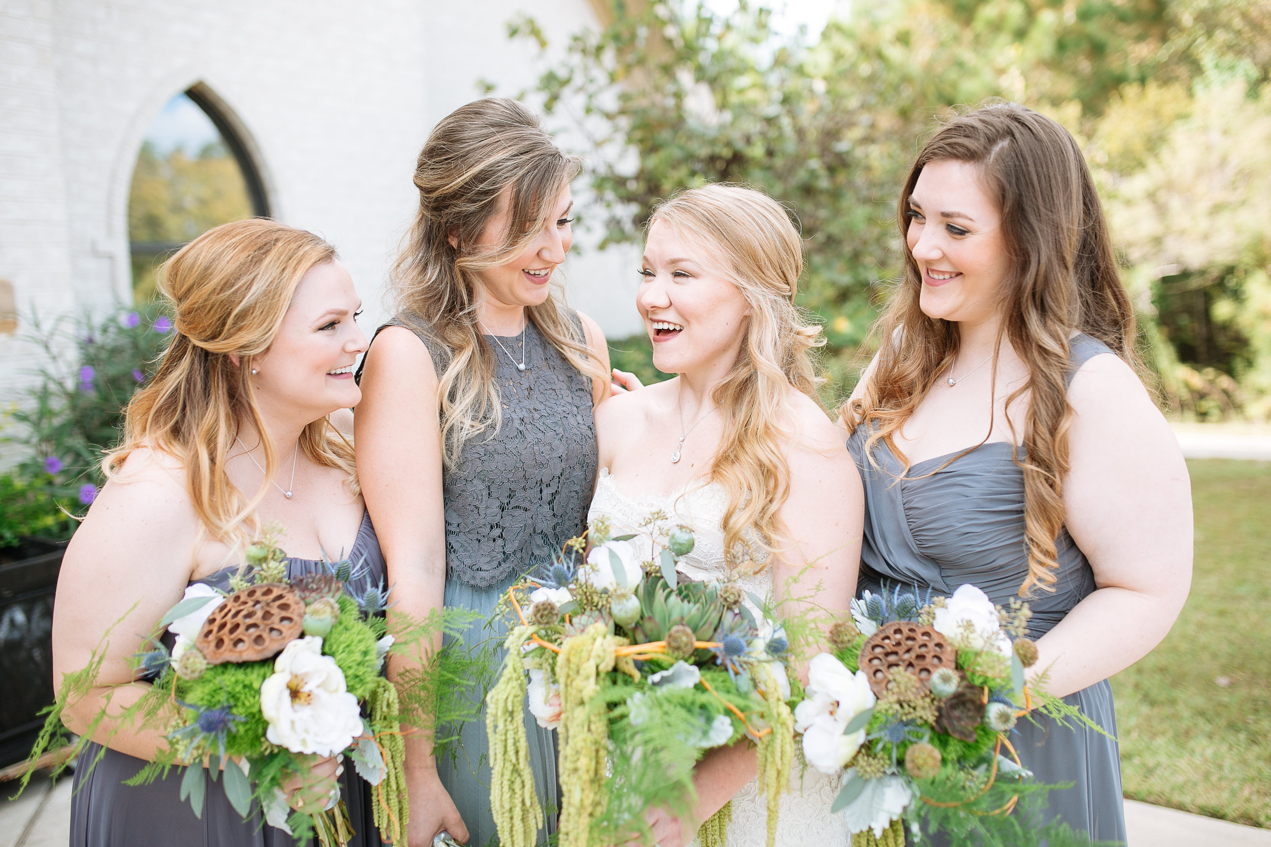 Mis-matched Bridal Party Dresses | Blue and Grey Wedding | Woodlands, TX