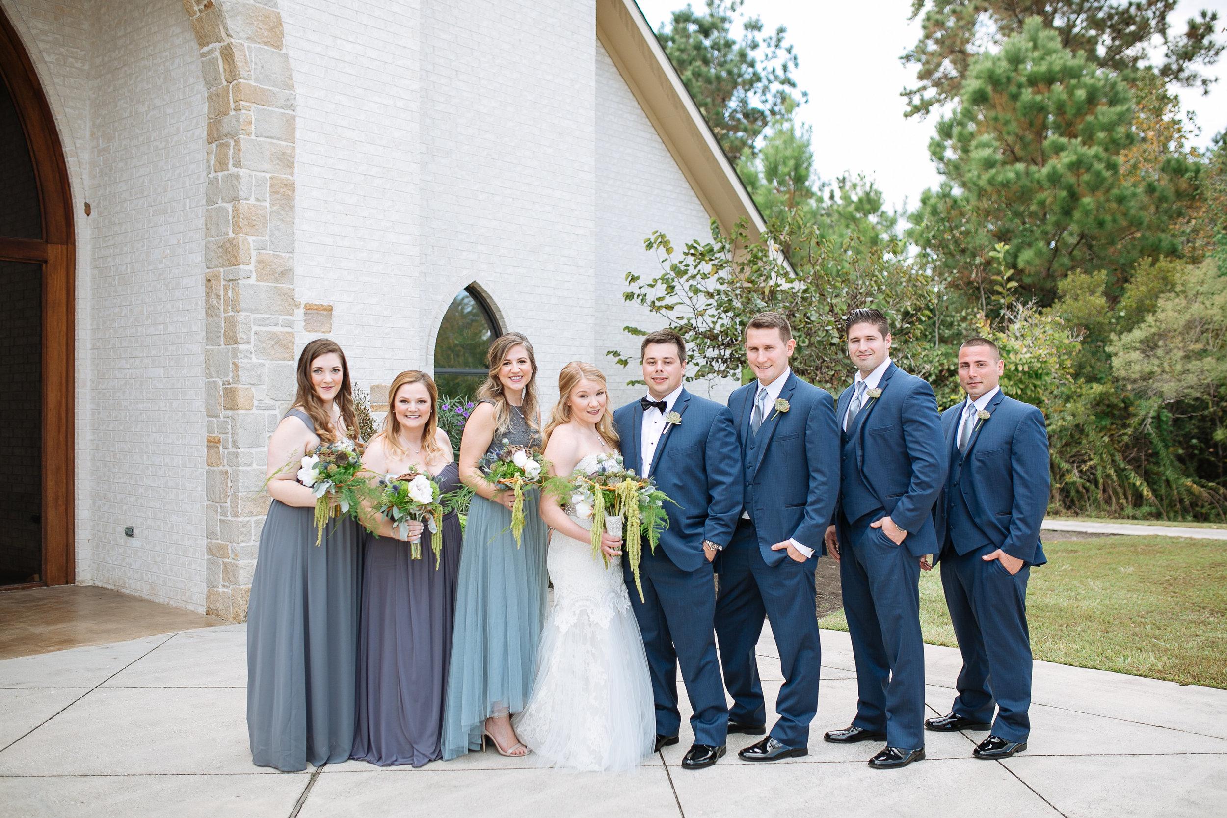 Wedding Party Photos | Blue and Grey Wedding Ideas | Houston Weddings