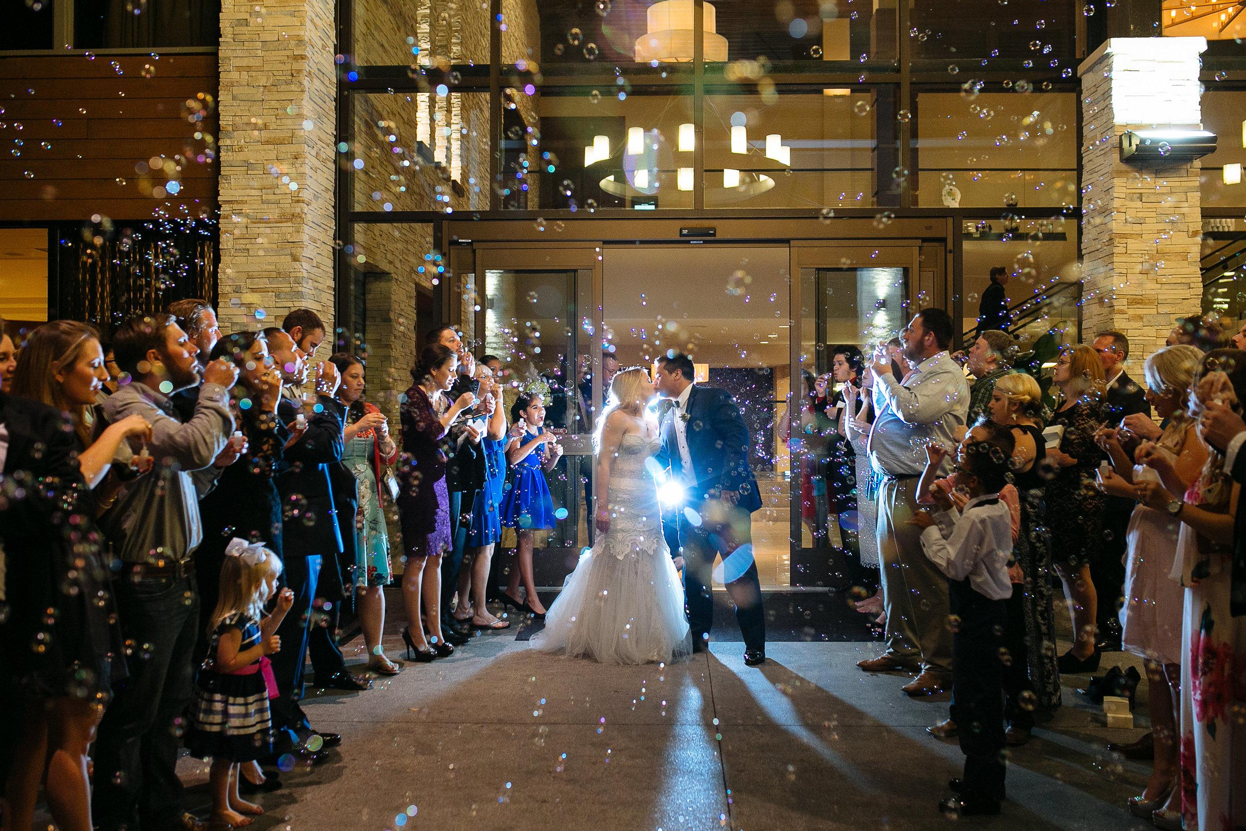 Bubble Exit | Woodlands Wedding