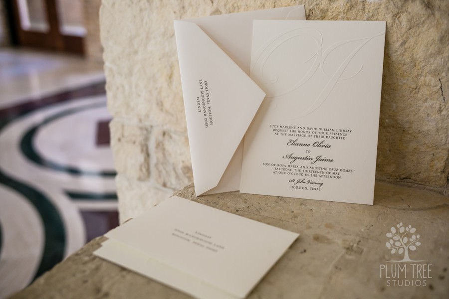 Ceremony at St. John Vianney Catholic Church | Wedding Invitation Suite | Houston Catholic Wedings