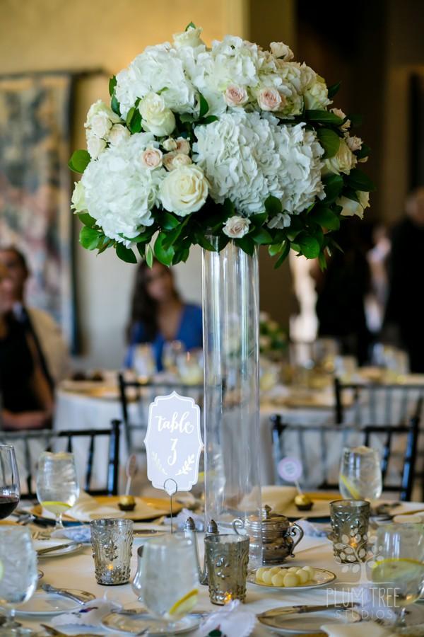 White and Ivory Wedding Flowers | Tall Wedding Arrangement | Houston