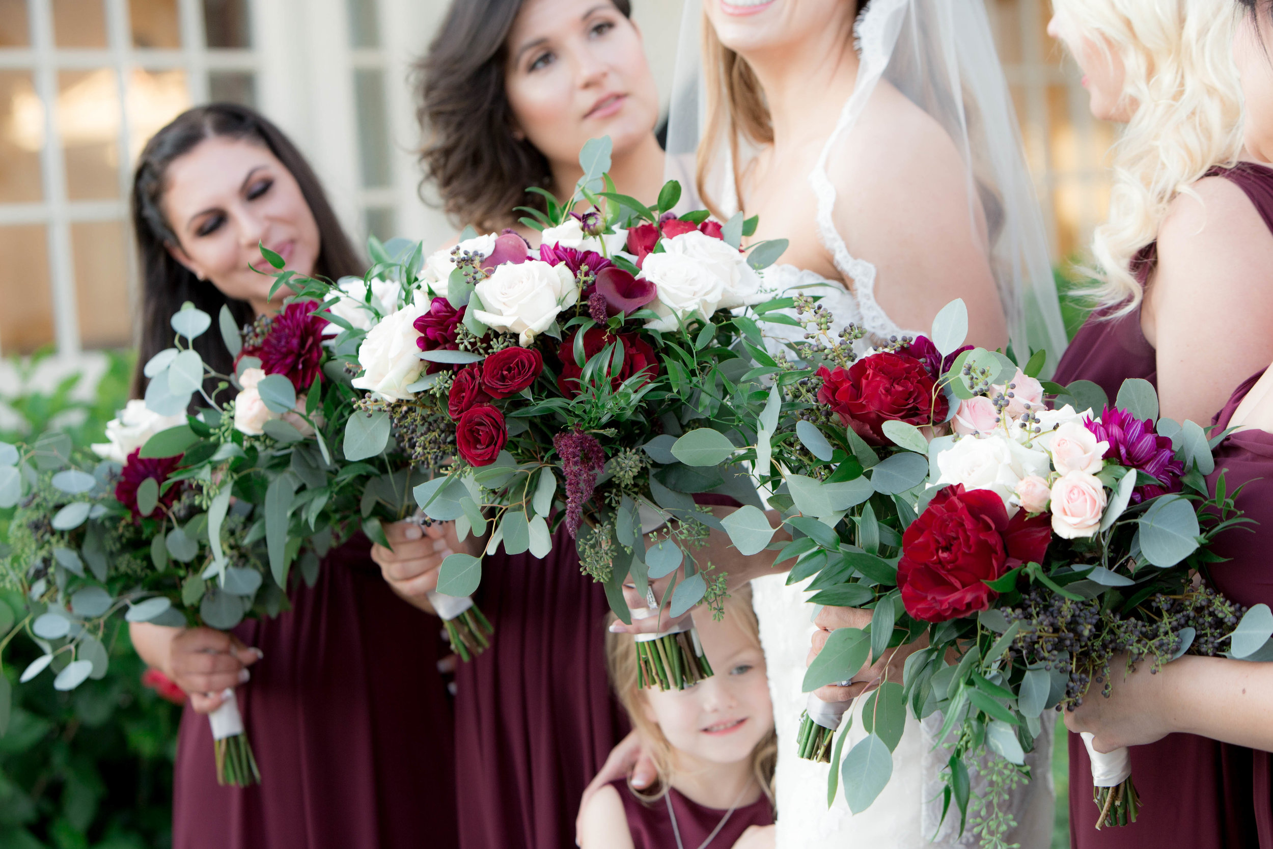 Burgundy and Marsala Wedding Bouquet