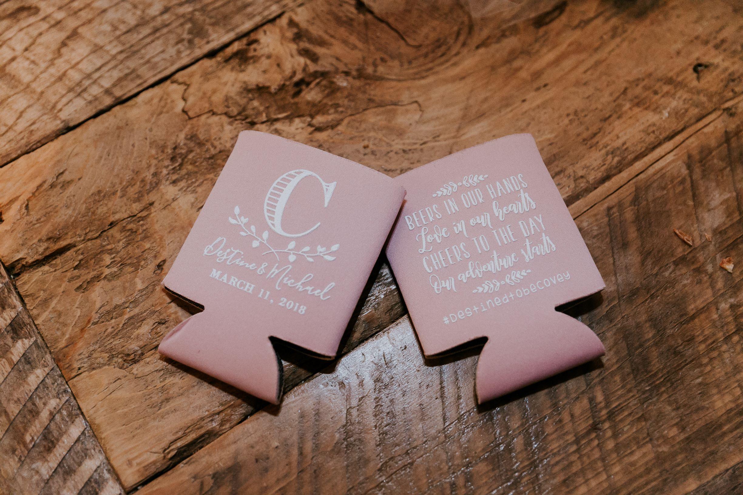 Wedding Favor Ideas Coozies Wedding at Big Sky Barn Wedding Planners in Houston